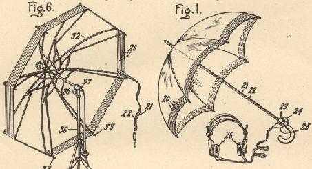 Una galena con antena de paraguas